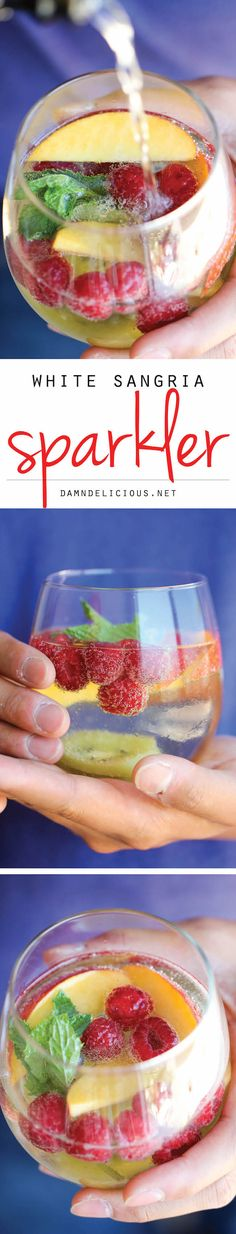 Moscato sangria with sparkling moscato. White Sangria Sparkler - A refreshing, bubbly sangria loaded with tons of gorgeous fruity goodness. And it takes 10 min to put together! Refreshing Drinks, Summer Drinks, Fun Drinks, Beverages, Alcoholic Drinks, Summer Sangria, Red Sangria, Sangria Recipes, Cocktail Recipes