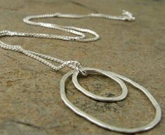 Hammered Silver Necklace, Sterling Silver Abstract Circle Pendant, Modern Contemporary Silver Jewelry