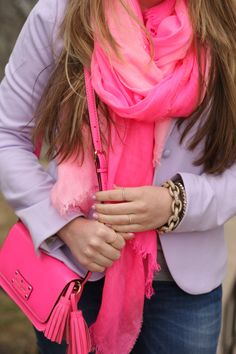 Pink scarf and accessories