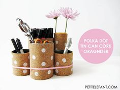 How to Make a Can Desk Organizer #DIY
