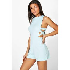 Boohoo Sofia Lattice Side Textured Fabric Playsuit | Boohoo ($21) ❤ liked on Polyvore featuring jumpsuits, rompers, duck egg blue, blue rompers, blue romper, blue jersey, playsuit romper and party rompers