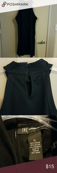 Little black dress Modest black dress with high neck line and button closure in back of neck. Stretchy fabric makes for a flattering fit. INC International Concepts Dresses