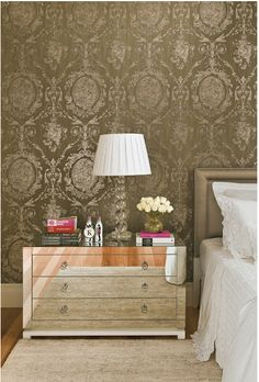 coleridge Damask Wallpaper An elegant Damask wallpaper in striking yellow and black with gold ...