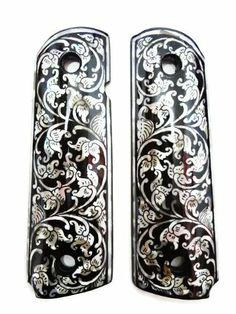 Mother of Pearl Inlay 1911 Grips Black Flower fit with S&W Colt KimberR Springfield Handmade Gun