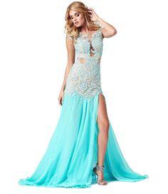 Blue prom dress with slit
