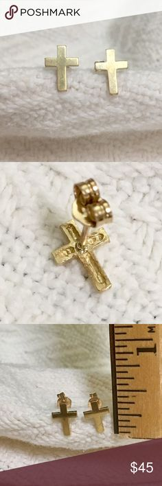 Solid 10k yellow gold cross stud earrings Adorable 10k yellow gold religious cross earrings.  Stamped 10k on earrings and butterfly backs.  Some light scratches on the surface from normal use.  The earring measure about 3/8 of an inch tall and weigh .7 grams.  Perfect gift for Easter. Jewelry Earrings