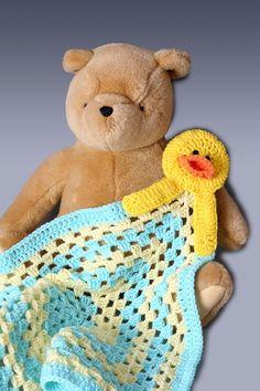 Crochet Baby Lovie Afghan  Ducky by PerfectKnotCrochet on Etsy, $27.00
