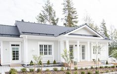Kannustalo, Aurora, rinnetalo House Design, House Exterior, Scandinavian Home, Building A House, House Plans, House Styles, House Inspiration, New Homes, House Designs Exterior