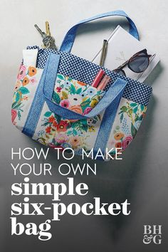 Choose your favorite patterned fabric and this easy sewing project becomes as statement-making as it is practical. We'll show you how to sew a bag in just five steps—this is a great sewing project for Purse Patterns Free, Handbag Patterns, Bag Patterns To Sew, Easy Tote Bag Pattern Free, Tote Pattern, Animal Patterns, Wallet Pattern, Pattern Fabric, Quilted Tote Bags