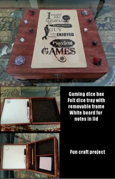 Player D&D RPG dice tray. Wooden box from Michaels, felt lined dice tray with removable storage frame; white board in lid. I would want just a plain top but this is a great idea. Tabletop Rpg, Tabletop Games, Geek Crafts, Fun Crafts, Pen & Paper, Dice Box, Games To Play, Playing Games, Dungeons And Dragons