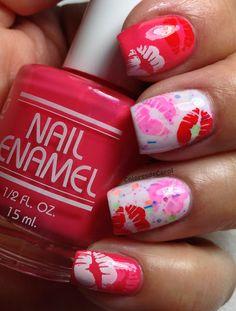 Colores de Carol: Bettina - Watermelon & Haywire from Lush Lacquer. Seasonal Nails, Holiday Nails, Cute Nail Art, Cute Nails, Watermelon Nail Art, Valentine Nail Art, Valentines, Kiss Nails, Hair Skin Nails