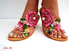Roses sandals Handmade sandals leather sandals Boho