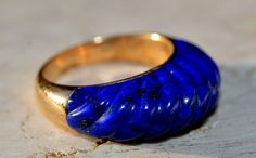 ESTATE 14K YELLOW GOLD CARVED LAPIS LAZULI SOLITAIRE BAND RING-SIZE 8.25-585 #Band