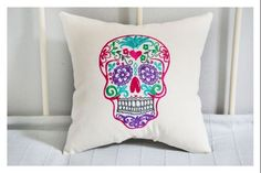 Sugar skull pillow, embroidery gift pillow, Day of the Dead Halloween pillow on imgfave