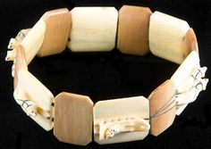 Native Alaskan Ivory & Baleen Stretch Bracelet – Dog Sled