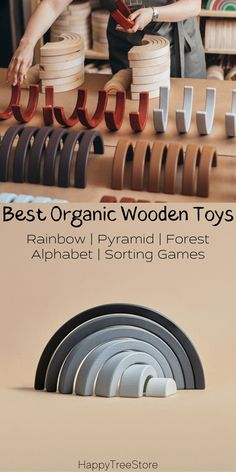 Best Rainbow Organic Wooden Baby Toys by HappyTreeStore. Montessori Rainbow   Pyramid   Forest   Alphabet   Sorting Games. Waldorf and Educational wooden toys is the best gift for toddlers. Our toys are made of environmentally eco-friendly materials for kids of any age #woodentoy #education