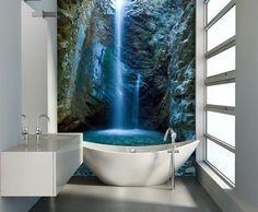 Moderne Wandgestaltung im Badezimmer - Fototapete mit Wasserfall