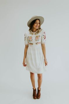 White lace floral embroidered dress | ROOLEE
