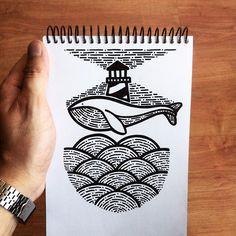 Pablo Contreras. -- Buscando entre las olas. #illustration #drawing #tattoo #ink #blackandwhite #black #ilustracion #dibujo #sharpie #whale #linework