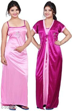 Nightdress Comfy Satin Night Dress Set Fabric: Satin Sleeves: Sleeves Are Included /  Sleeves Are Not Included Size: Up To 36 in To 38 in ( Free Size)  Length: Up To 50 in           Type: Stitched Description: It Has 1 Piece Of Nigth Dress & 1 Piece Of Robe Set Work: Embroidery Country of Origin: India Sizes Available: Free Size   Catalog Rating: ★4 (21639)  Catalog Name: Free Mask Womens Flare Satin Nightwears Vol 2 CatalogID_32265 C76-SC1044 Code: 682-305970-756