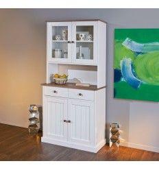 Commode original avec 6 tiroirs et 2 portes coloris blanc for Rangement salle a manger