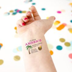 tropical bachelorette party temporary tattoos