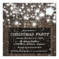 Rustic Wood Christmas Party Shining Stars Card