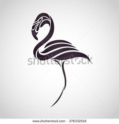 Flamingo logo vector - stock vector