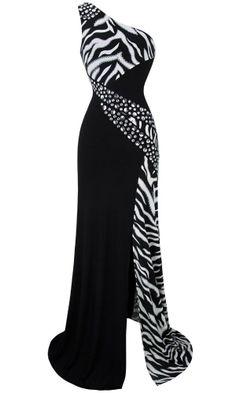 drag queen BLACK one shoulder zebra dress