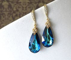 Check out Glitz and Love on Etsy for wedding jewelry Eathelyn Bermuda Blue Faceted Teardrop Crystal by GlitzAndLove