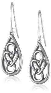Sterling Silver Oxidized Celtic Knot Teardrop Dangle Wire Earrings available at joyfulcrown.com