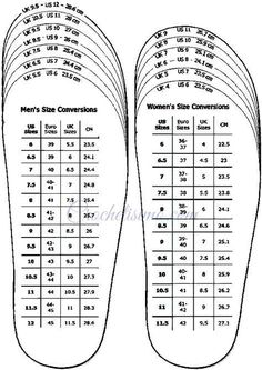 shoes measurement chart for printable adult (men and woman