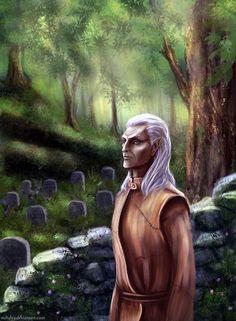 Skyrim and Runil (c) Bethesda Priest of Arkay Elder Scrolls Lore, Elder Scrolls Games, Elder Scrolls Skyrim, Tes Skyrim, Star Wars Species, Red Vs Blue, High Elf, Drawing Games, Video Game Art