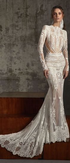 Boho wedding dress : Lior Charchy Fall 2018 so classy and elegant. White Wedding Gowns, Wedding Gowns With Sleeves, Best Wedding Dresses, Boho Wedding Dress, Bridal Dresses, Dresses With Sleeves, Wedding Dress 2018, Backless Wedding, Tulle Wedding