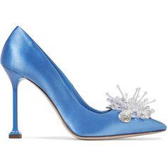 Miu Miu Embellished satin pumps ($990) ❤ liked on Polyvore featuring shoes, pumps, miu miu, blue, high heel stilettos, stiletto pumps, slip-on shoes, high heeled footwear and blue satin shoes
