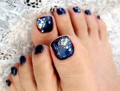 Navy Blue Wedding Toe Nail Art With Gemstones