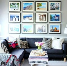 Wall display ideas for living room family room the reveal apartment decor home travel wall display Room Wall Decor, Living Room Decor, Living Rooms, Room Art, Travel Gallery Wall, Travel Wall Decor, Home And Deco, Family Room, Family Pics