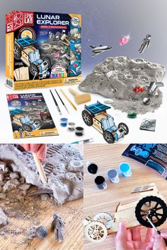 Explore the mysteries of the moon with Epic Lab's Lunar Explorer Kit. Discover hour astronauts navigated the moon by creating your own lunar rover. Excavate the moons surface to uncover artifacts left behind by the astronauts and minerals that are naturally present on the mood. Follow the educational instruction guide to learn facts about the astronaut landings, how moon minerals and earth minerals compare and how your lunar rover would use solar power to covert energy.