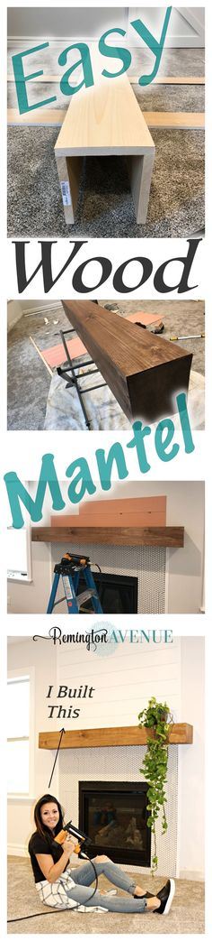 Easy DIY wood mantel The easiest DIY wood mantel ever! I'm not a pro but this mantel looks so good! Come join me for a fun tutorial and inexpensive project! The post Easy DIY wood mantel appeared first on Wood Diy. Fireplace Redo, Fireplace Remodel, Fireplace Design, Farmhouse Fireplace, Fireplace Ideas, Fireplace Mantels, Fireplace Makeovers, Diy Wood Projects, Home Projects