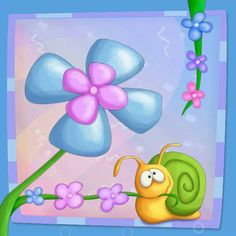 A Flower Thing III - Snaily by Tooshtoosh on DeviantArt Drawing For Kids, Art For Kids, Frosch Illustration, Snail Art, Kids Canvas Art, Art Challenge, Stone Painting, Cartoon Drawings, Diy Art