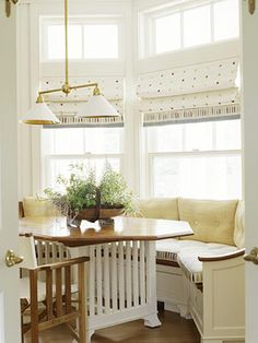 Can't figure out what to do with that bay window? It doesn't matter if it's in the living room, dining or kitchen, a banquette works anywhere!