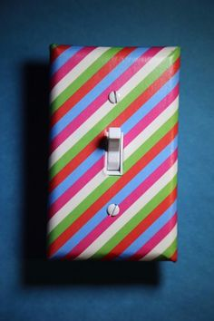 Pink diagonal print Light Switch Cover boy girl child teen room decor green blue