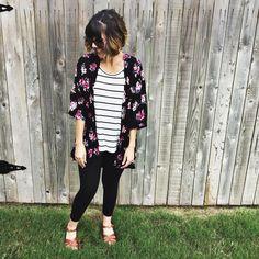 The Lularoe Lindsay kimono, classic tee and leggings. Shop this look here: https://www.facebook.com/groups/lularoekeribenderVIPS/