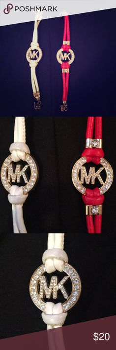 Michael Kors Leather Bracelets Brand new Michael Kors leather bracelets - pink & white - look cute together but you can also buy separately😌 Michael Kors Jewelry Bracelets
