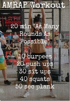 """@Erin B B B Minnett Cid - this would be good for you and jason. amrap = """"as many rounds as possible"""" - no, or very short breaks (like 10 secs) keep moving at a pace you can handle."""