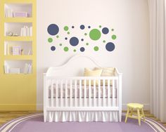 104 Polka Dots, Vinyl Wall Decal, Circles, Home Decor, Geometric Retro Shapes, Kids Rooms, Office Decor, Wall Shapes, Gift Ideas by Twelve9Printing on Etsy