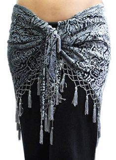Burnout Velvet Scarf with Beads & Tassels - SILVER