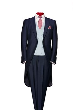 Navy blue mohair and wool morning suit by Neal & Palmer Morning Coat, Morning Dress, Wedding Morning Suits, Wedding Suits, Retro Wedding Dresses, Best Suits For Men, Tweed Waistcoat, Sharp Dressed Man, Casual Look