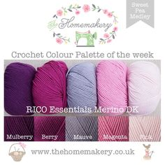 Sweet Pea Medley - RICO Essentials Merino DK £19 http://www.thehomemakery.co.uk/wool-yarn/yarn-packs/sweet-pea-medley-rico-essentials-merino-dk