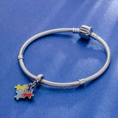"""""""Puzzle Charm"""" Silver Enamel, 925 Silver, Sterling Silver, Autism, Different Colors, Dangles, Puzzle, Charms, Gems"""